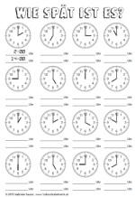 Arbeitsblätter (Kopiervorlagen) Uhrzeit « Arbeitsblätter ...